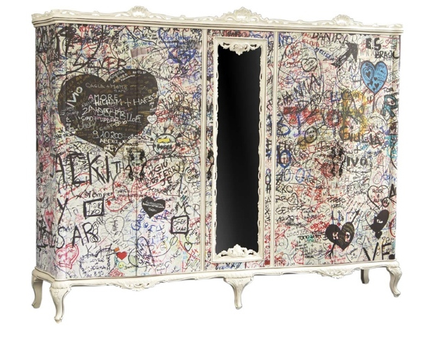 Vintage meets bohemian with a graffiti effect by designer Love Anna James