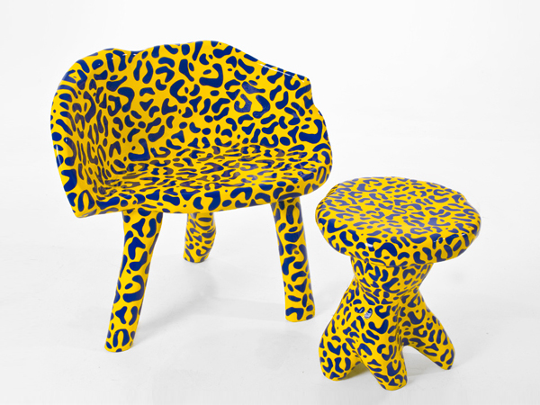 "A leopard patternd ""Rockie"" chair by Dutch furniture designer Bauke Knottnerus."
