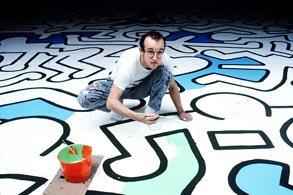 A portrait of New York City based, American artist Keith Haring photographed by Bernard Gotfryd.