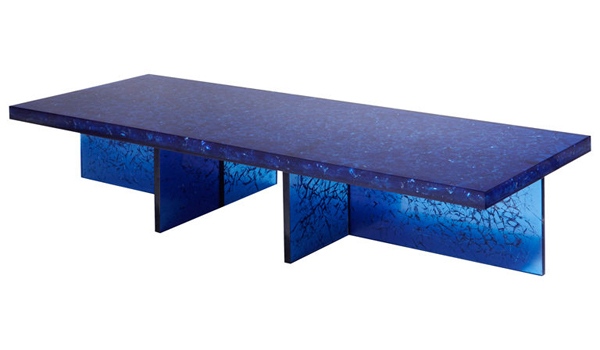 A 1980 Italian Blue  Ractal Resin Coffee Table From Franco Gavagni.