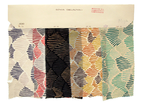 Design 945, a set of five fabric designed by Ukranian born, French textile and fashion designer Sonia Delaunay.