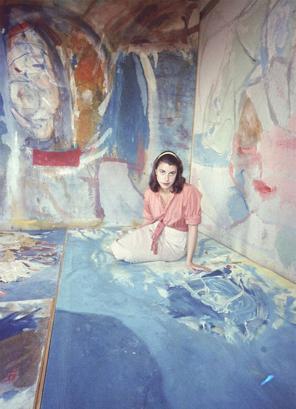 Jewish American abstract expressionist painter and artist Helen Frankenthaler Photographed sitting amidst her art in her New York City studio.