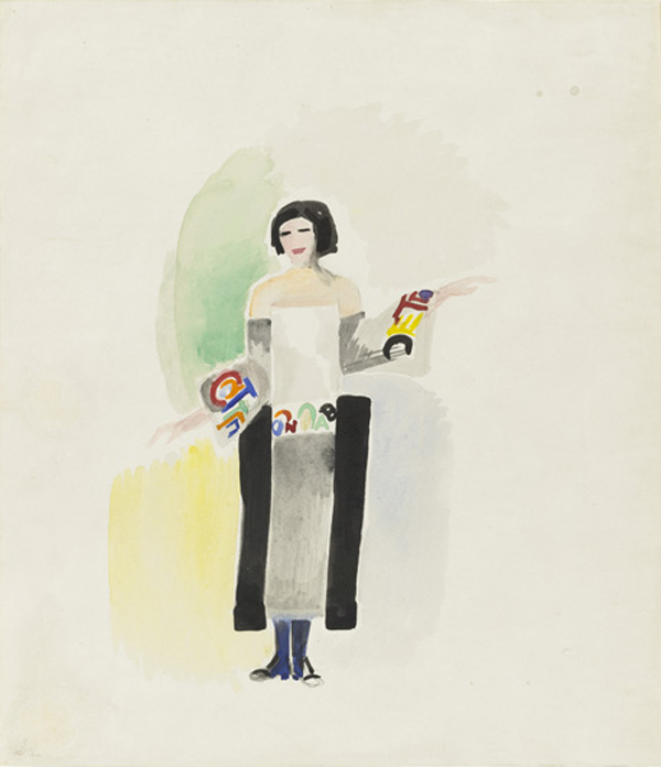 A fashion rendering by French abstract artist and textile designer Sonia Delaunay.