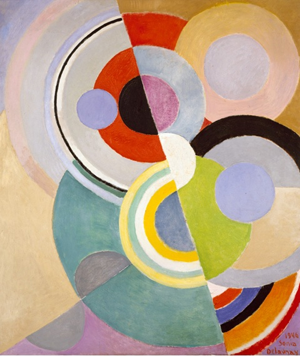 Rythme Coloré  a abstract oil on Canvas by Ukranian born, French Orphic-Cubism artist Sonia Delaunay.