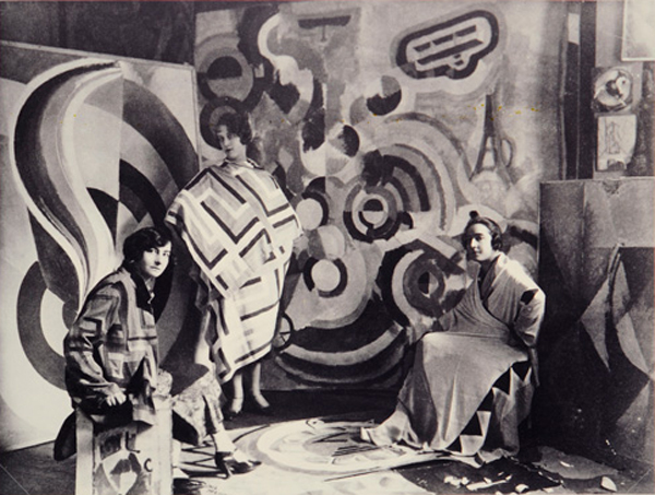 Ukranian born Jewish French artist, textile and fashion designer Sonia Delaunay at the art studio of her husband Robert Delaunay 1924.