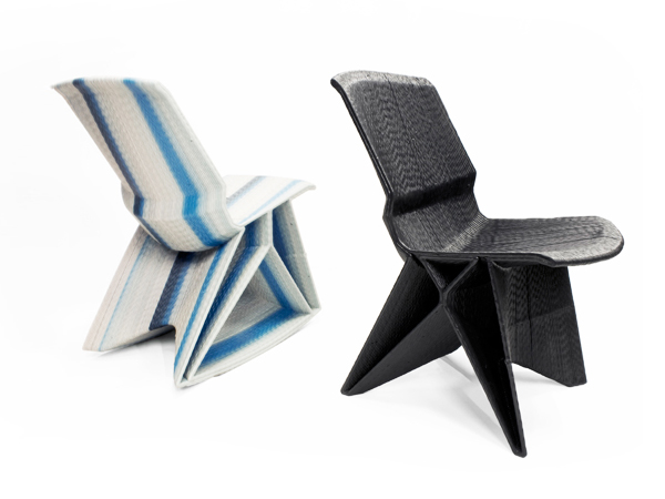 A recycled plastic chair designed by dutch furniture designer Dirk Vander Kooij.