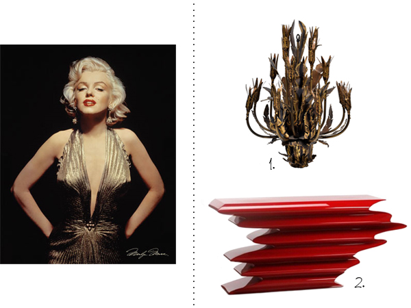 A 1960's Brutalist brass floral chandelier and a red Psychose console by Italian designer Herve Van De Straeten.