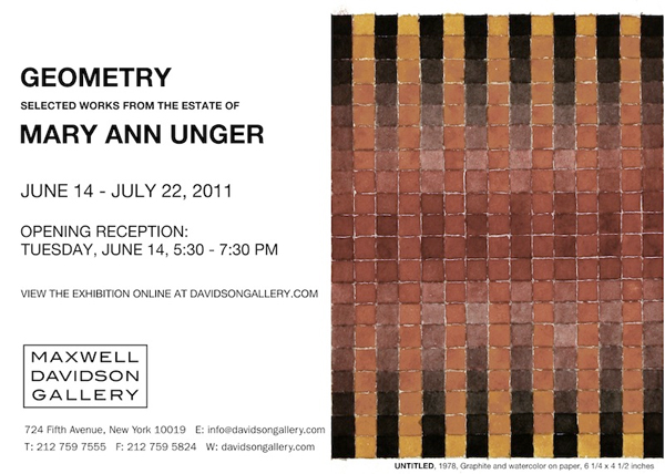 A art Reception for American artist Mary Ann Unger at the Maxwell Davidson Gallery New York City.