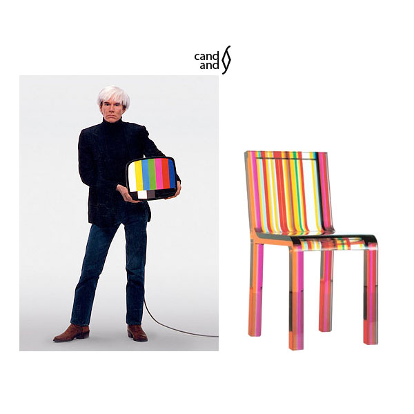 Andy Warhol with the Italian produced Cappellini Rainbow chair.