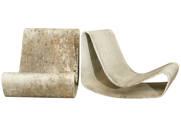 Vintage Concrete Loop Chairs designed by swiss furniture designer Willy Guhl.