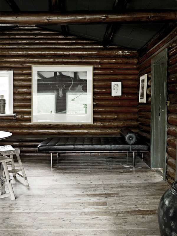 Modern log cabin interior.