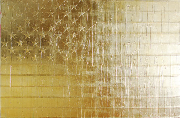 A gold leaf on streched american flag painting by american artist Andrew Shultz.