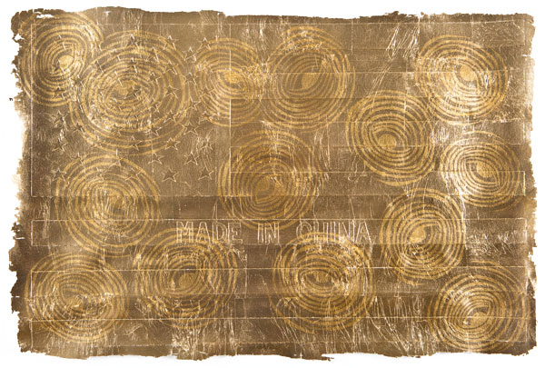 An acrylic and gold leaf painting on embossed paper by american artist Andrew Schoultz.