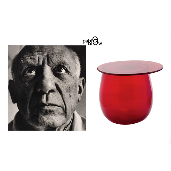 Artist Pablo Picasso with the 2010 Blow Side Table by Konstantin Grcic.
