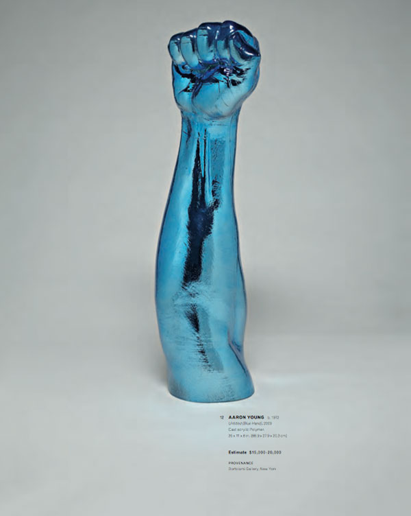 A 2009 untitled blue art sculpture by American artist Aaron Young