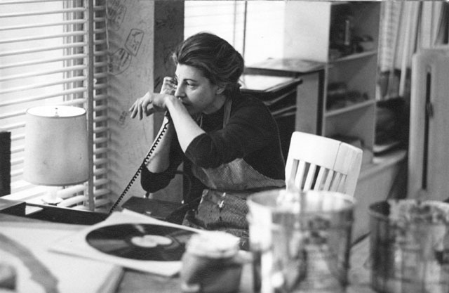 American abstract expressionist Helen Frankenthaler painting in her New York Studio