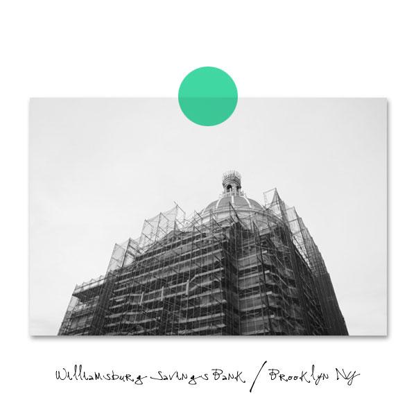 Black & White photo of historic Williamsburg Brooklyn NY savings bank.