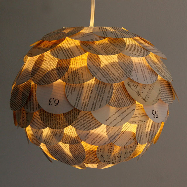 Modern lighting made of recycled paper.