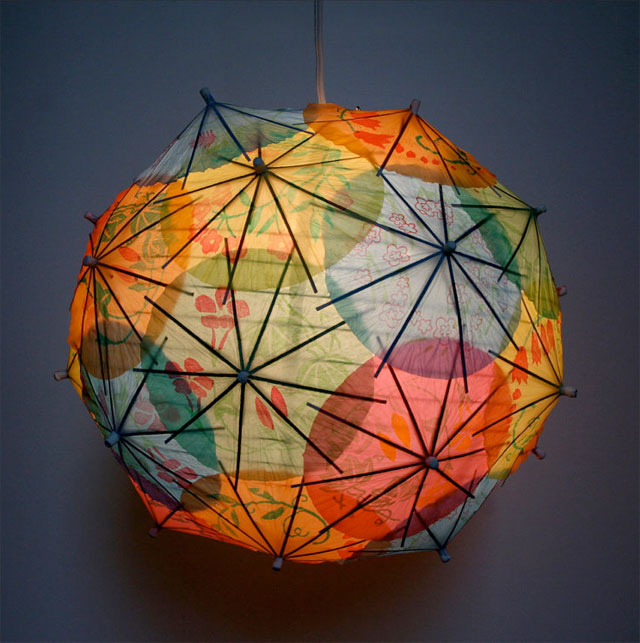 Modern lighting made of recycled chinese coktail umbrellas.