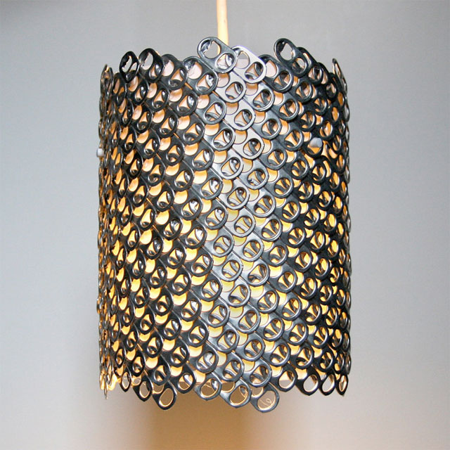Modern lighting made of recycled soda can tabs.