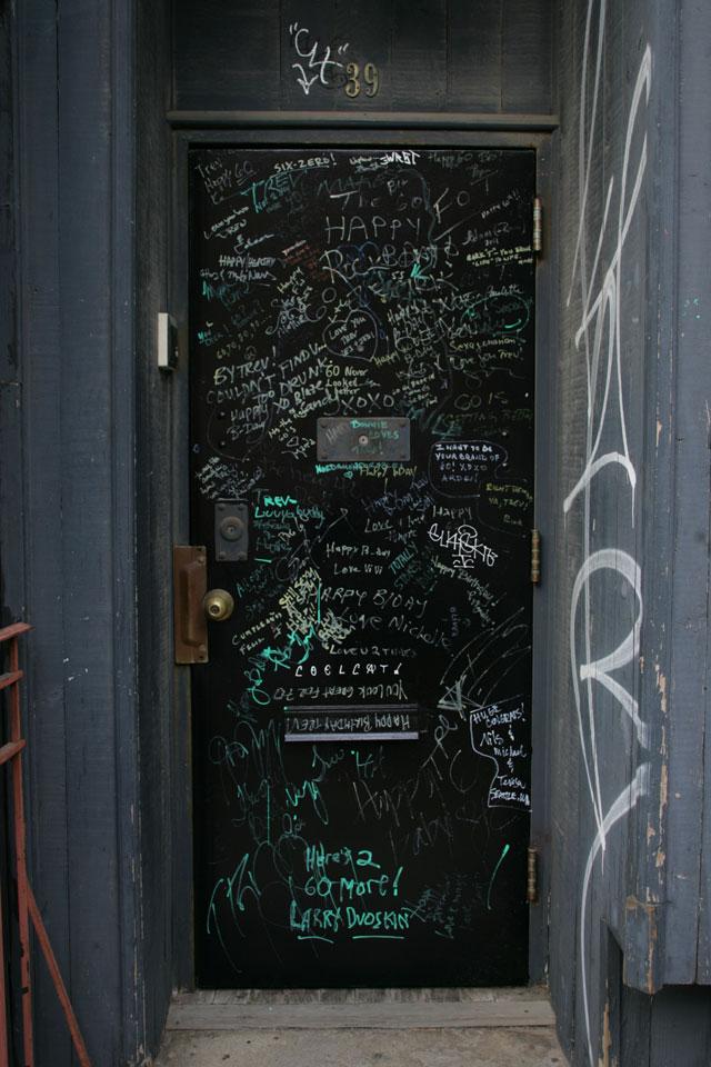 A unique graffit door in Williamsburg, Brooklyn NY.