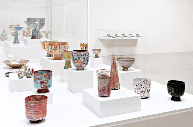 An art exhibit at the Santa Monica Museum of Art featuring the work of American female artist and potter Beatrice Wood.