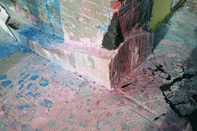 Poured street paint graffiti in Williamsburg Brooklyn.