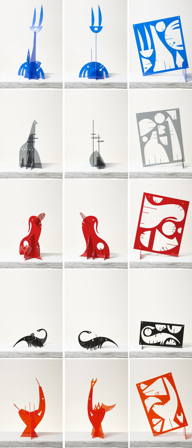 Small-scale, moblie, plexiglass sculptures by Italian designer Rugggero Asnagho.