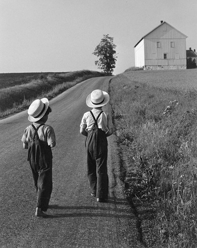 A fine art photo of amish boys by American photographer Geroge Tice