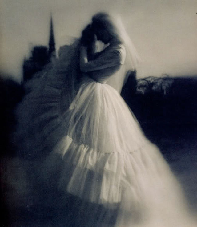 A black and white photo by American fashion photographer Lillian Bassman