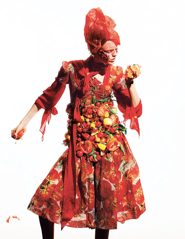 Fashion made from food photographed by Richard Burbridge.