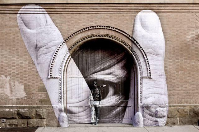 Wall mural art collaboration with French street artist JR and Chinese camouflage artist Liu Bolin.