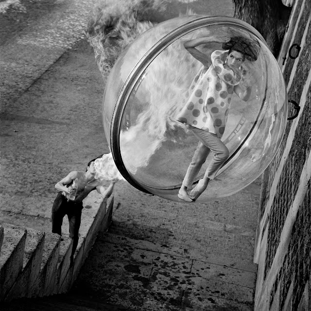 """""""Fashion in A Bubble"""" photographs by American Photographer Melvin Sokolsky."""