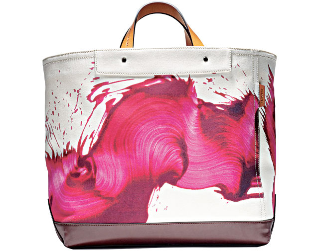 Brush storke art tote bags designed by American artist James Nares for Coach Leather