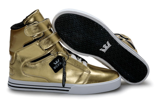 Men's gold sneakers.