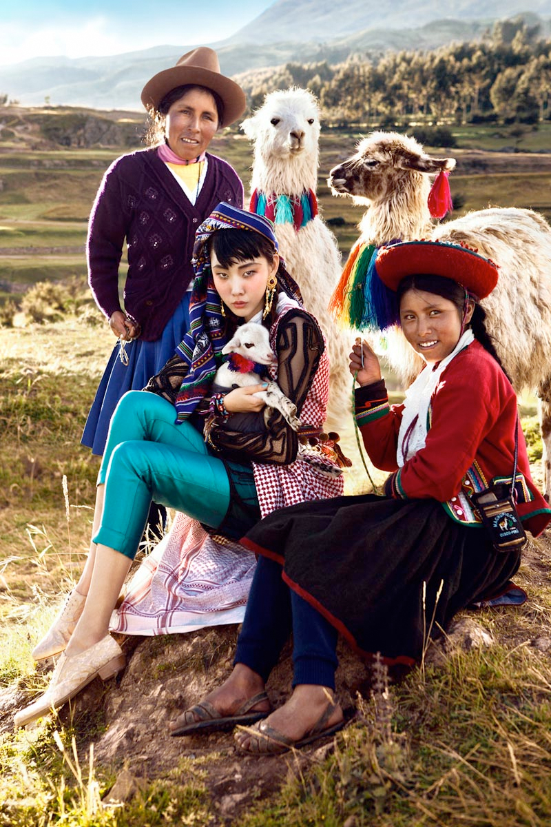 """Colors of Peru"" fashion photography featuring Han Hye Jin in the July 2012 summer issue of Vogue Korea"