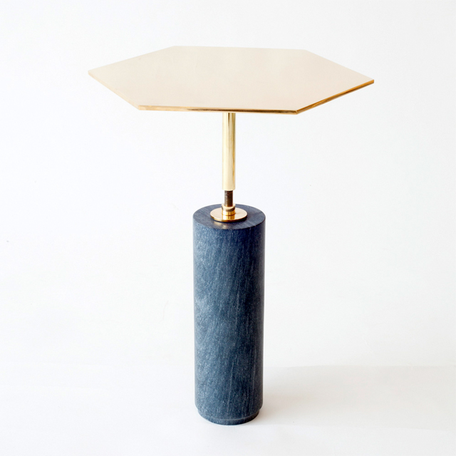 Marble and brass hawley side table designed by Brooklyn New York based furniture designers Egg Collective.