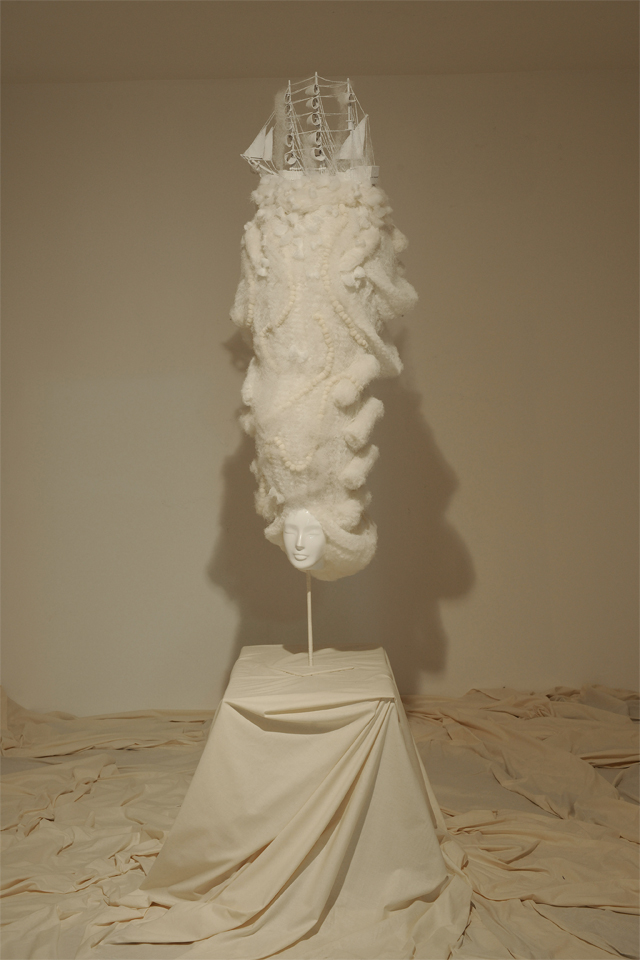 Fashion wig designed by Angelo Seminara on display at the Diana Vreeland exhibit at the Fortuny museum in Venice Italy.