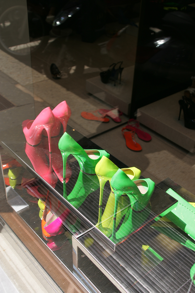 Casadei Neon Women's Shoes in Milan, Italy.