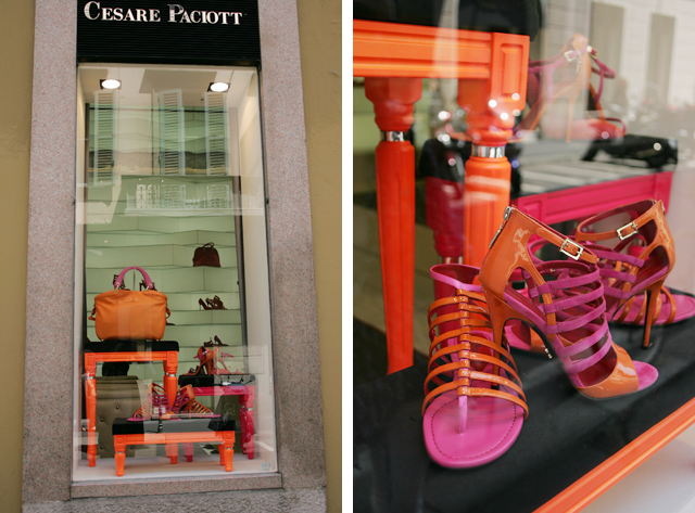 Neon women's shoes at Cesare Paciott in Milano, Italy.