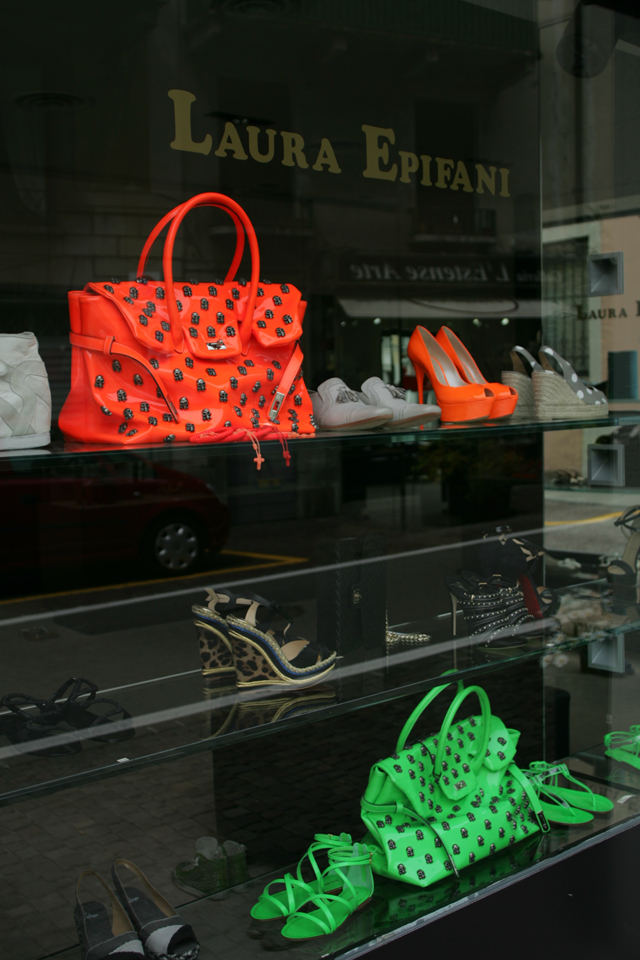 Italian designed, women's leather neon bags.