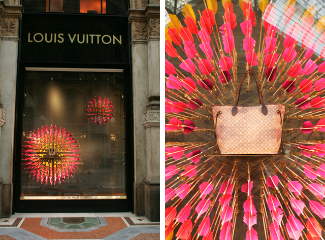 A neon retail window design at the Mouis Vuitton in Milan Italy.
