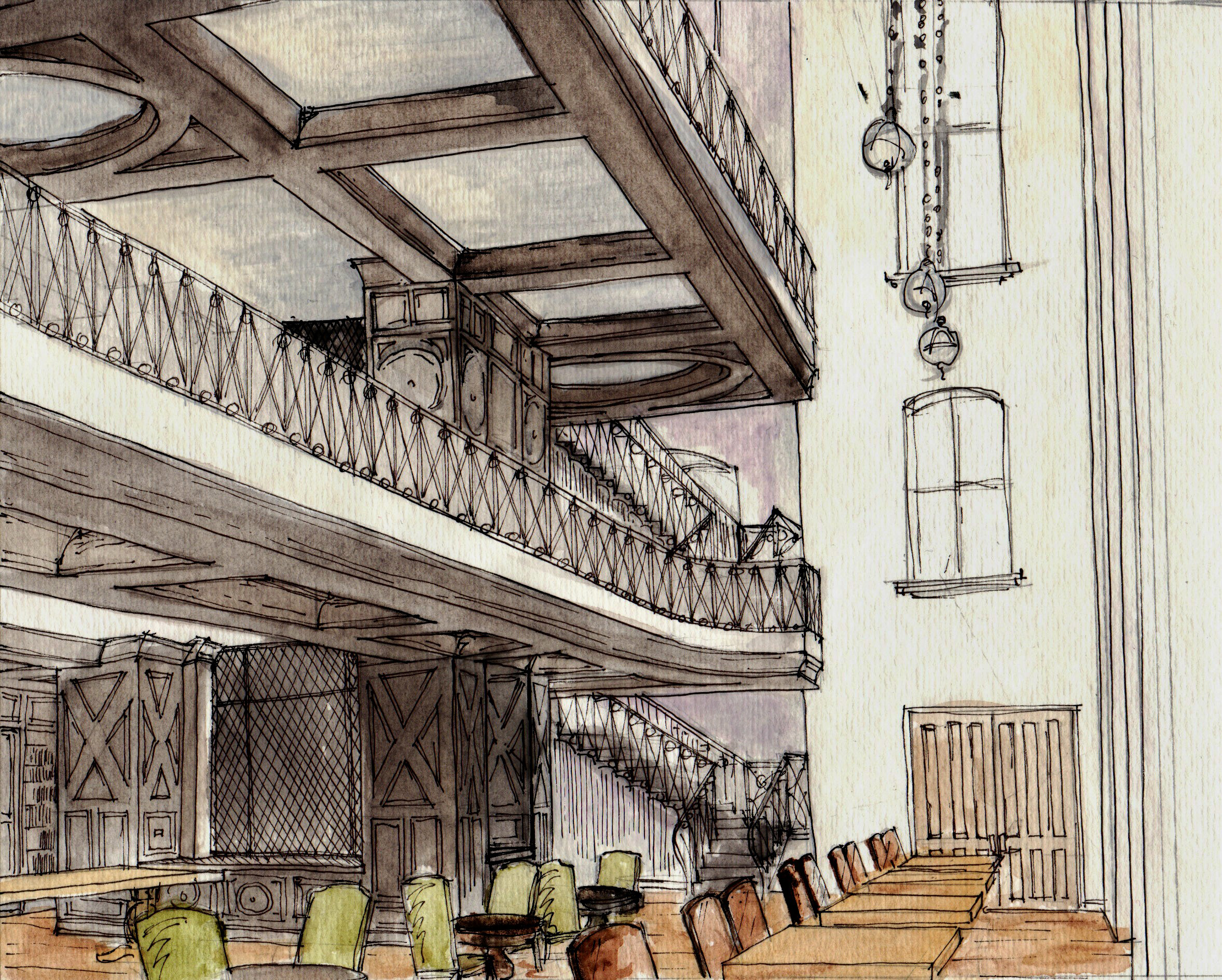 Interior renderings by michael harold the bohmerian for Interior design drawing