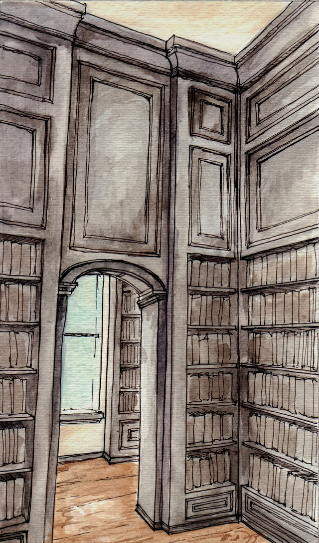 Hand drawn and rendered interior drawing by NYC based designer Michael Harold.