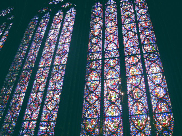The stained glass windwos at Sainte-Chapelle gothic chapel in Paris, France.