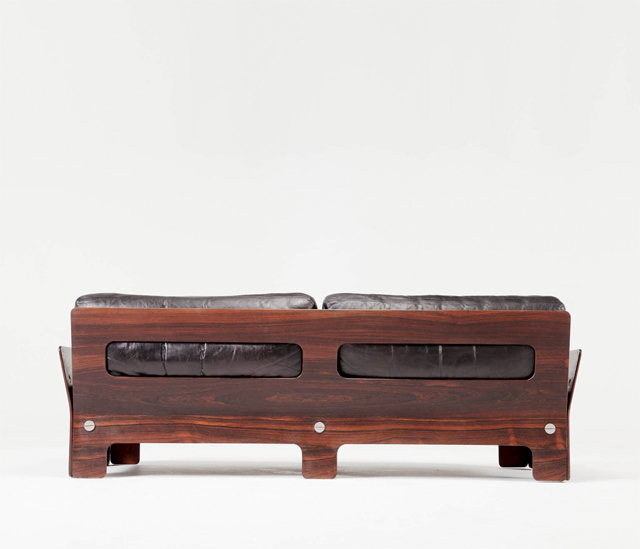 Mid Centure bent rosewood plywood sofa.