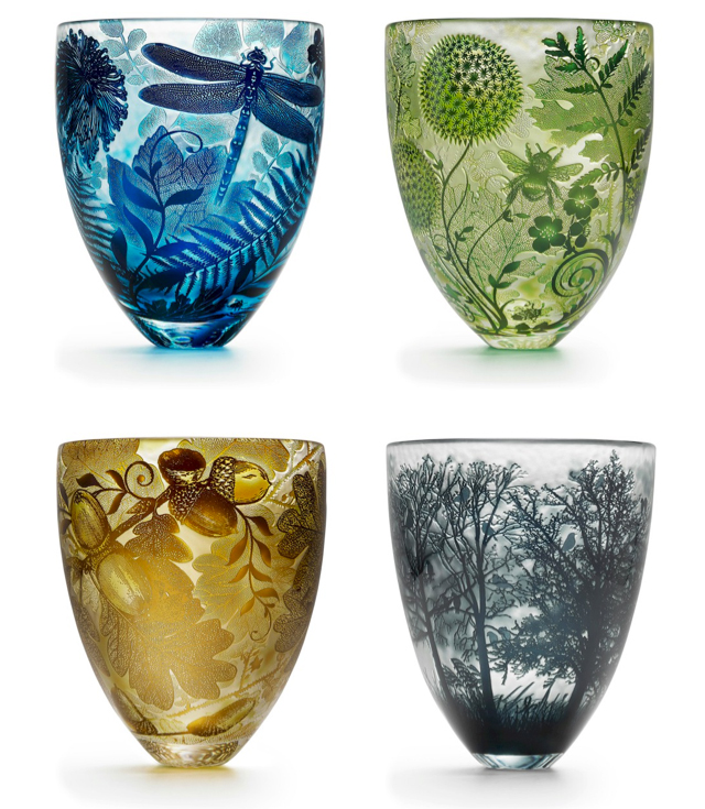 Hand carved crystal vases by Asprey London.